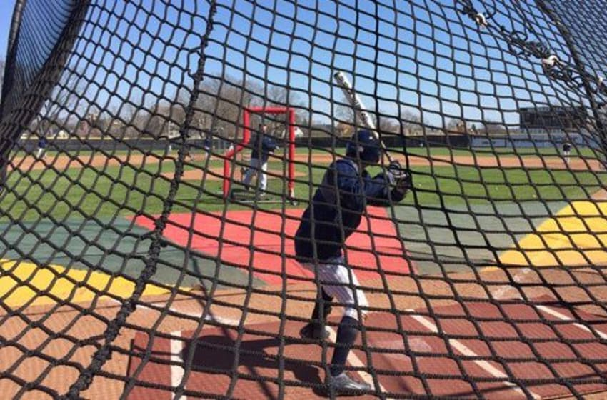 The Rhode Island Rams baseball team takes batting practice before a game. Mandatory Credit: Rhody Baseball (@RhodyBaseball), twitter.com