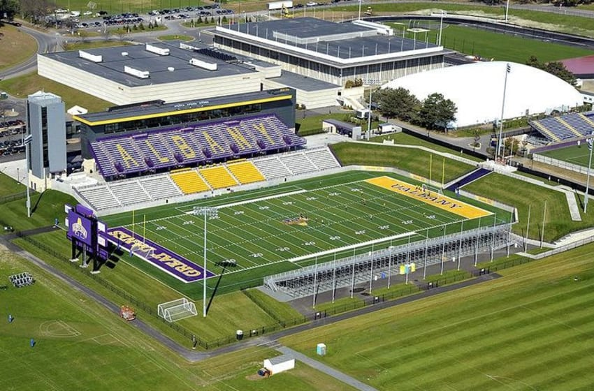 An aerial view of Bob Ford Field, home of the Albany Great Danes football team. Mandatory Credit: WikiCommons