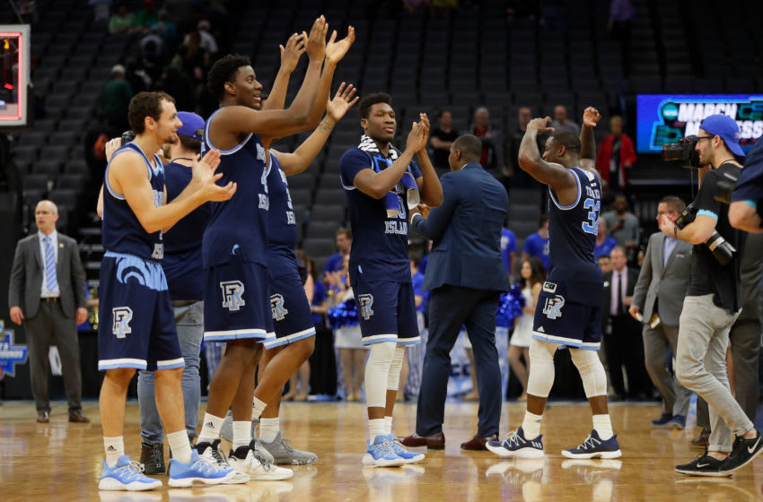 SACRAMENTO, CA - MARCH 17: The Rhode Island Rams celebrate their victory over the Creighton Bluejays during the first round of the 2017 NCAA Men's Basketball Tournament at Golden 1 Center on March 17, 2017 in Sacramento, California. (Photo by Jamie Squire/Getty Images)