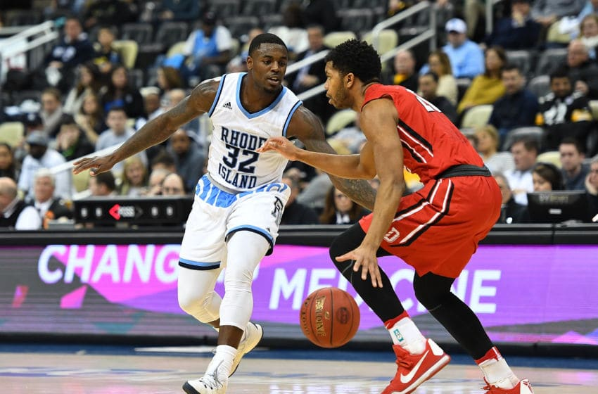 PITTSBURGH, PA - MARCH 11: Jared Terrell #32 of the Rhode Island Rams defends against the Davidson Wildcats during the semifinals of the Atlantic 10 Basketball Tournament at PPG PAINTS Arena on March 11, 2017 in Pittsburgh, Pennsylvania. (Photo by Joe Sargent/Getty Images)