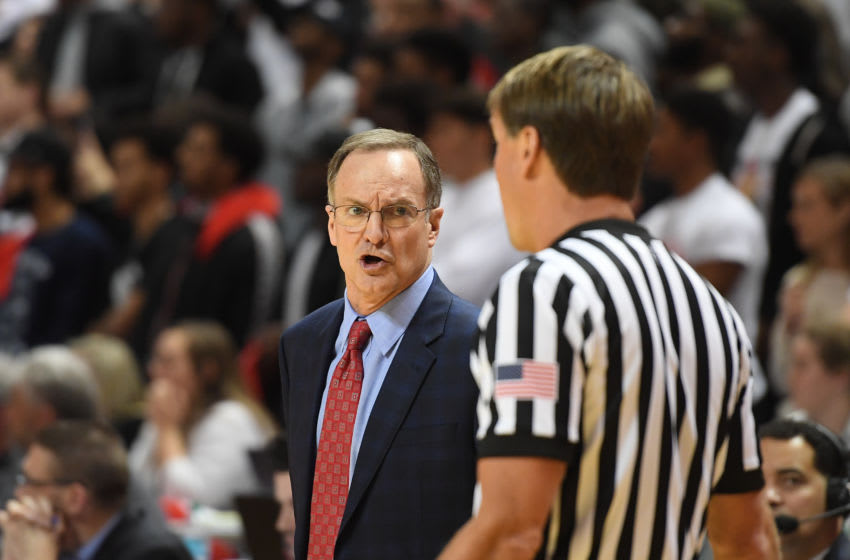 LUBBOCK, TX - FEBRUARY 13: Head coach Lon Kruger of the Oklahoma Sooners argues with an official during the second half of the game against the Texas Tech Red Raiders on February 13, 2018 at United Supermarket Arena in Lubbock, Texas. Texas Tech defeated Oklahoma 88-78. (Photo by John Weast/Getty Images)
