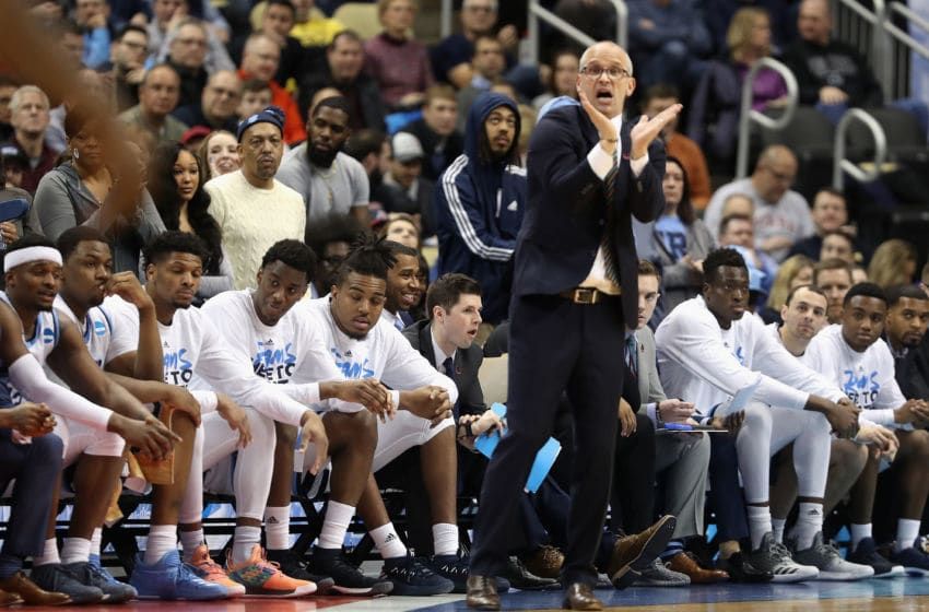 PITTSBURGH, PA - MARCH 15: Head coach Dan Hurley of the Rhode Island Rams signals to his team in the first half of the game against the Oklahoma Sooners during the first round of the 2018 NCAA Men's Basketball Tournament at PPG PAINTS Arena on March 15, 2018 in Pittsburgh, Pennsylvania. (Photo by Rob Carr/Getty Images)