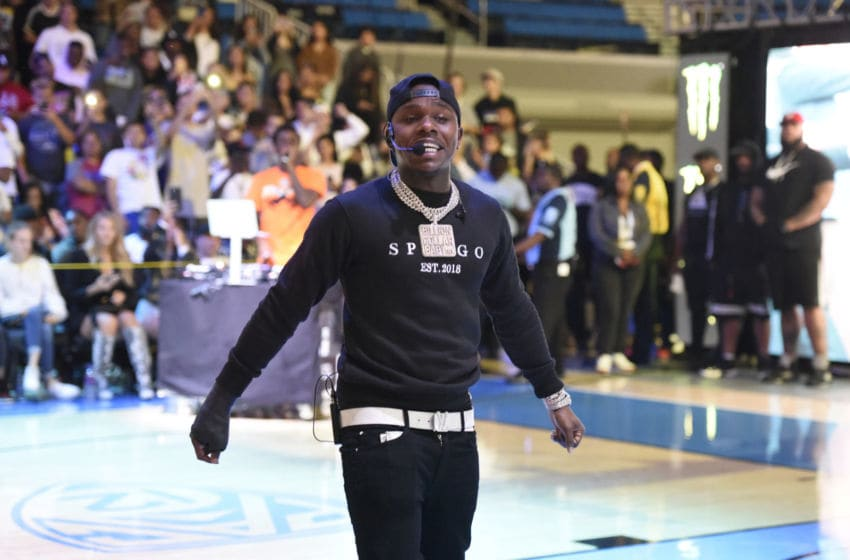 WESTWOOD, CALIFORNIA - JULY 08: DaBaby performs at halftime during the Monster Energy $50K Charity Challenge Celebrity Basketball Game at UCLA's Pauley Pavilion on July 08, 2019 in Westwood, California. (Photo by Vivien Killilea/Getty Images for Idol Roc )