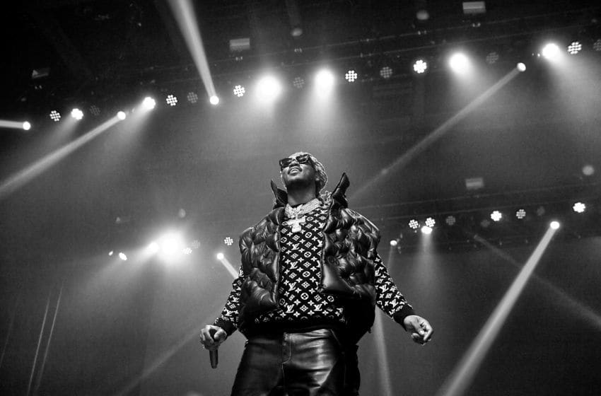 EDITORS NOTE: Image has been converted to black and white. The color version is available.) Rapper Future performs onstage during the