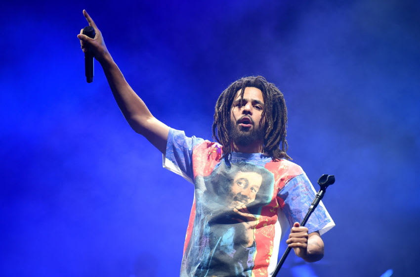 LONDON, ENGLAND - JULY 06: (EDITORIAL USE ONLY) J. Cole headlines the main stage on Day 1 of Wireless Festival 2018 at Finsbury Park on July 6, 2018 in London, England. (Photo by Tabatha Fireman/Getty Images)