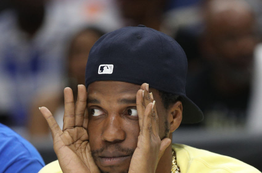 NEW ORLEANS, LOUISIANA - AUGUST 25: Rapper Curren$y looks on during the BIG3 Playoffs at Smoothie King Center on August 25, 2019 in New Orleans, Louisiana. (Photo by Chris Graythen/BIG3 via Getty Images)