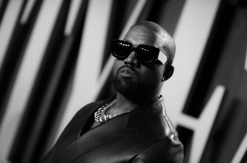 BEVERLY HILLS, CALIFORNIA - FEBRUARY 09: (EDITORS NOTE: Image has been converted to black and white.) Kanye West attends the 2020 Vanity Fair Oscar Party hosted by Radhika Jones at Wallis Annenberg Center for the Performing Arts on February 09, 2020 in Beverly Hills, California. (Photo by Rich Fury/VF20/Getty Images for Vanity Fair)