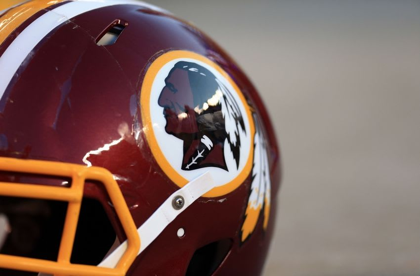 Aug 13, 2015; Cleveland, OH, USA; Detailed view of a Washington Redskins helmet in a preseason NFL football game against the Cleveland Browns at FirstEnergy Stadium. Mandatory Credit: Andrew Weber-USA TODAY Sports