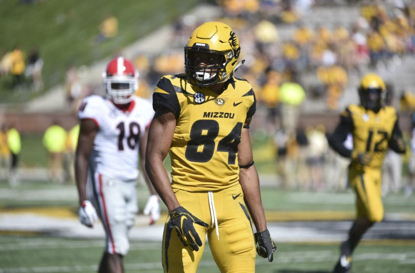 COLUMBIA, MO - SEPTEMBER 22: Wide receiver Emanuel Hall #84 of the Missouri Tigers in action against the Georgia Bulldogs at Memorial Stadium on September 22, 2018 in Columbia, Missouri. (Photo by Ed Zurga/Getty Images)