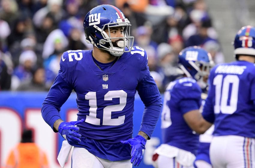 EAST RUTHERFORD, NEW JERSEY - DECEMBER 30: Cody Latimer #12 of the New York Giants in action against the Dallas Cowboys at MetLife Stadium on December 30, 2018 in East Rutherford, New Jersey. (Photo by Steven Ryan/Getty Images)