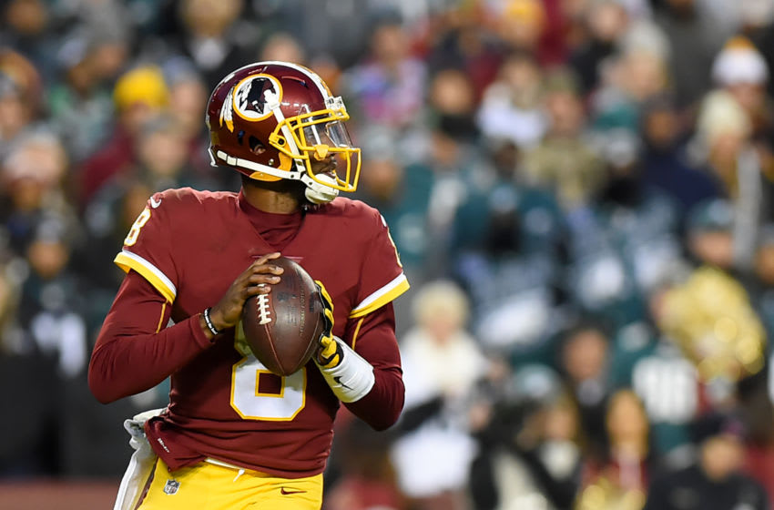 LANDOVER, MD - DECEMBER 30: Josh Johnson #8 of the Washington Redskins looks to pass against the Philadelphia Eagles during the first half at FedExField on December 30, 2018 in Landover, Maryland. (Photo by Will Newton/Getty Images)