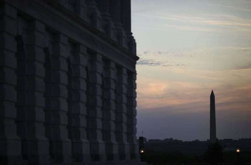 WASHINGTON, DC - APRIL 17: The Washington Monument stands at dusk, April 17, 2019 in Washington, DC. The results of the investigation by special counsel Robert Mueller will be made public on Thursday in a nearly 400-page report. (Photo by Drew Angerer/Getty Images)