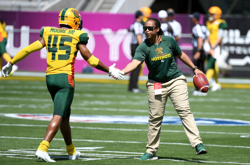 TEMPE, ARIZONA - MARCH 24: Assistant coach Jennifer King of the Arizona Hotshots during warmups prior to the Alliance of American Football game against the San Diego Fleet at Sun Devil Stadium on March 24, 2019 in Tempe, Arizona. (Photo by Norm Hall/AAF/Getty Images)
