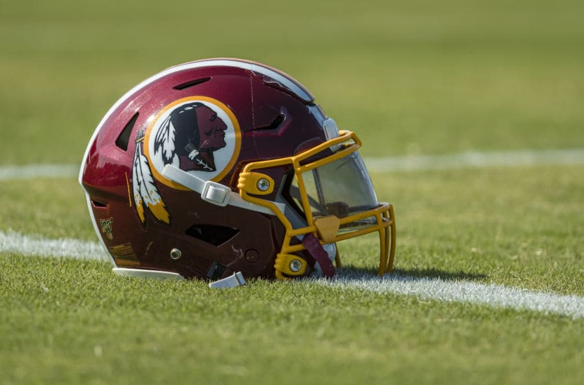 RICHMOND, VA - JULY 26: A general view of a Washington Redskins helmet on the field during training camp at Bon Secours Washington Redskins Training Center on July 26, 2019 in Richmond, Virginia. (Photo by Scott Taetsch/Getty Images)