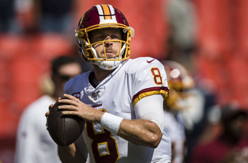 LANDOVER, MD - SEPTEMBER 15: Case Keenum #8 of the Washington Redskins throws before the game against the Dallas Cowboys at FedExField on September 15, 2019 in Landover, Maryland. (Photo by Scott Taetsch/Getty Images)