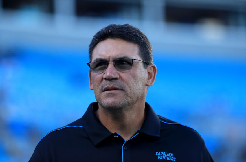 CHARLOTTE, NORTH CAROLINA - AUGUST 29: Head coach Ron Rivera of the Carolina Panthers watches on before their preseason game against the Pittsburgh Steelers at Bank of America Stadium on August 29, 2019 in Charlotte, North Carolina. (Photo by Streeter Lecka/Getty Images)