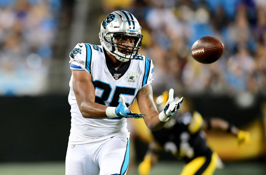 CHARLOTTE, NORTH CAROLINA - AUGUST 29: Marcus Baugh #85 of the Carolina Panthers makes a catch during their preseason game against the Pittsburgh Steelers at Bank of America Stadium on August 29, 2019 in Charlotte, North Carolina. (Photo by Jacob Kupferman/Getty Images)
