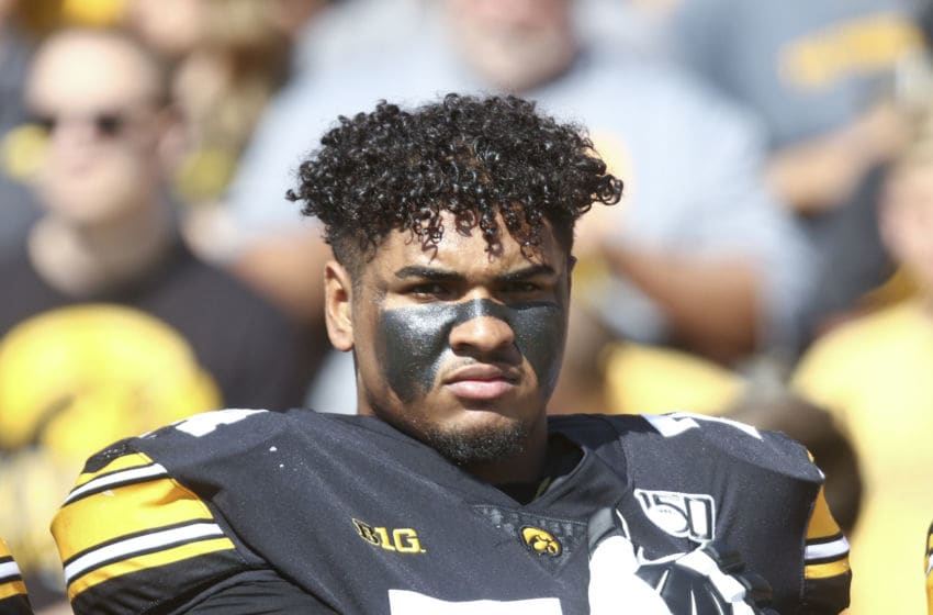 IOWA CITY, IOWA - SEPTEMBER 07: Offensive lineman Tristan Wirfs #74 of the Iowa Hawkeyes before the match-up against the Rutgers Scarlet Knights on September 7, 2019 at Kinnick Stadium in Iowa City, Iowa. (Photo by Matthew Holst/Getty Images)