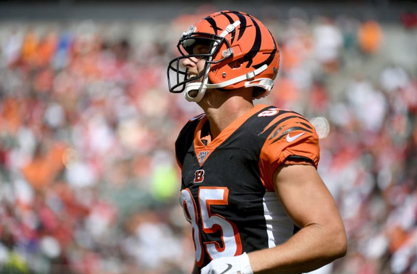CINCINNATI, OH - SEPTEMBER 15: Tyler Eifert #85 of the Cincinnati Bengals reacts after a San Francisco 49ers stop during the fourth quarter of the game at Paul Brown Stadium on September 15, 2019 in Cincinnati, Ohio. (Photo by Bobby Ellis/Getty Images)