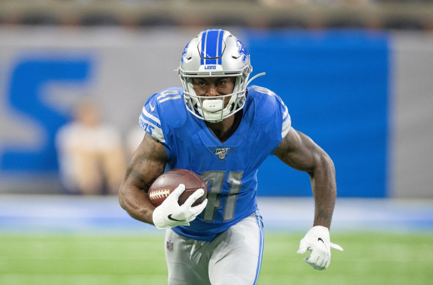 DETROIT, MI - OCTOBER 20: J.D. McKissic #41 of the Detroit Lions makes the catch and runs for the first down during the first quarter of the game against the Minnesota Vikings at Ford Field on October 20, 2019 in Detroit, Michigan. (Photo by Leon Halip/Getty Images)