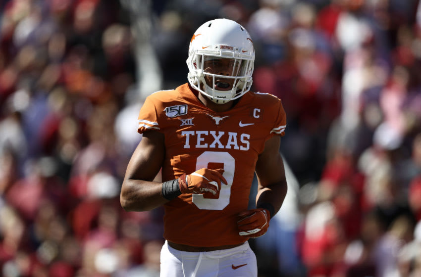 DALLAS, TEXAS - OCTOBER 12: Collin Johnson #9 of the Texas Longhorns during the 2019 AT&T Red River Showdown at Cotton Bowl on October 12, 2019 in Dallas, Texas. (Photo by Ronald Martinez/Getty Images)
