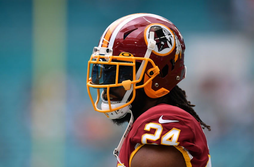MIAMI, FLORIDA - OCTOBER 13 Josh Norman #24 of the Washington Redskins warms up prior to the game against the Miami Dolphins at Hard Rock Stadium on October 13, 2019 in Miami, Florida. (Photo by Mark Brown/Getty Images)