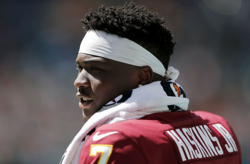 MIAMI, FLORIDA - OCTOBER 13: Dwayne Haskins #7 of the Washington Redskins looks on against the Miami Dolphins during the second quarter at Hard Rock Stadium on October 13, 2019 in Miami, Florida. (Photo by Michael Reaves/Getty Images)