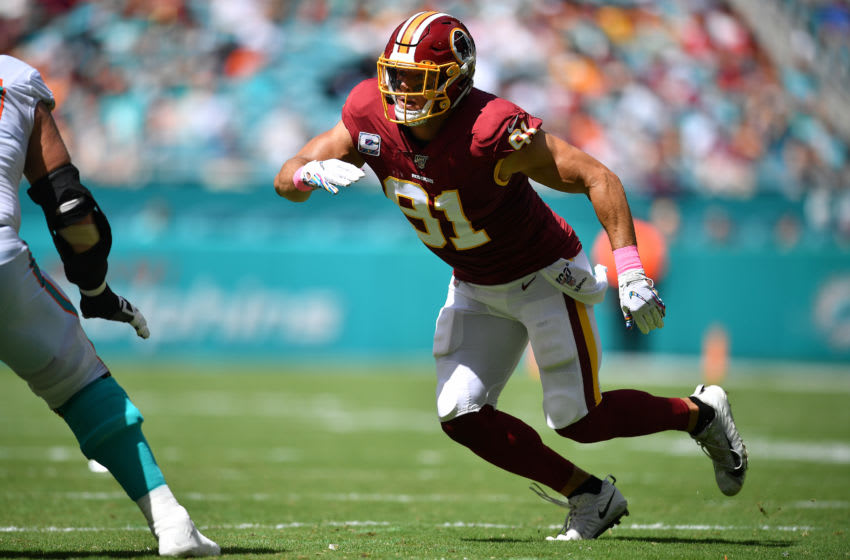MIAMI, FLORIDA - OCTOBER 13 Ryan Kerrigan #91 of the Washington Redskins rushes the quarterback against the Miami Dolphins in the second quarter at Hard Rock Stadium on October 13, 2019 in Miami, Florida. (Photo by Mark Brown/Getty Images)