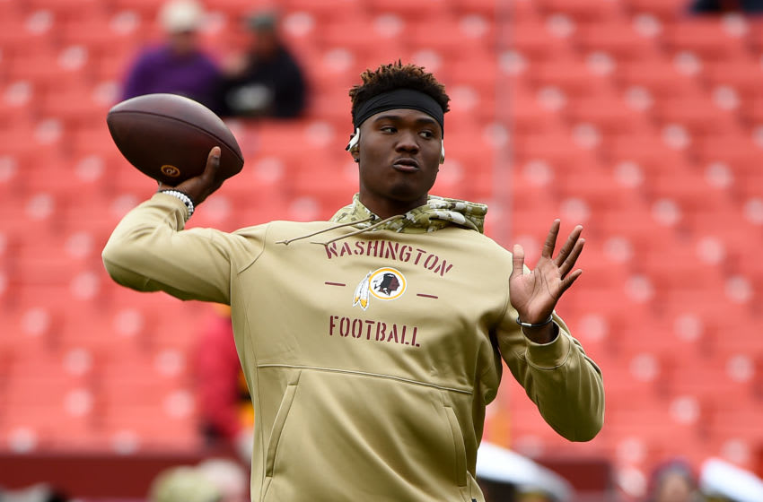 LANDOVER, MD - NOVEMBER 17: Dwayne Haskins #7 of the Washington Redskins warms up prior to playing against the New York Jets at FedExField on November 17, 2019 in Landover, Maryland. (Photo by Will Newton/Getty Images)