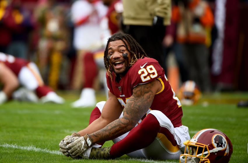 LANDOVER, MD - NOVEMBER 17: Derrius Guice #29 of the Washington Redskins warms up prior to playing against the New York Jets at FedExField on November 17, 2019 in Landover, Maryland. (Photo by Will Newton/Getty Images)