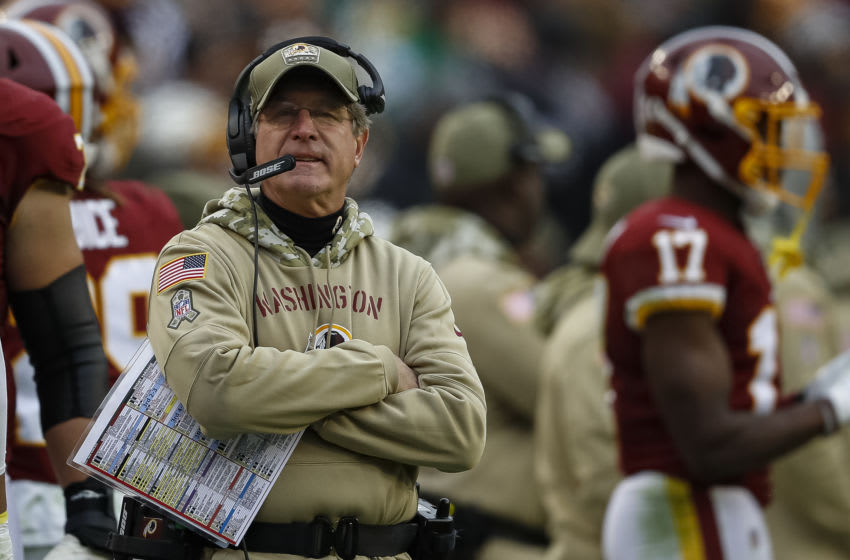 LANDOVER, MD - NOVEMBER 17: Head coach Bill Callahan of the Washington Redskins reacts to a play during the second half of the game against the New York Jets at FedExField on November 17, 2019 in Landover, Maryland. (Photo by Scott Taetsch/Getty Images)