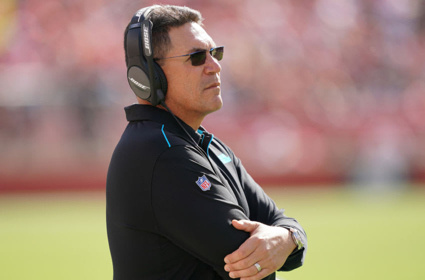 SANTA CLARA, CALIFORNIA - OCTOBER 27: Head coach Ron Rivera of the Carolina Panthers looks on from the sidelines against the San Francisco 49ers during an NFL football game at Levi's Stadium on October 27, 2019 in Santa Clara, California. (Photo by Thearon W. Henderson/Getty Images)