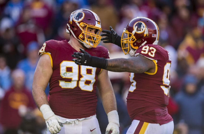 LANDOVER, MD - NOVEMBER 24: Matthew Ioannidis #98 of the Washington Redskins celebrates with Jonathan Allen #93 after a play against the Detroit Lions during the first half at FedExField on November 24, 2019 in Landover, Maryland. (Photo by Scott Taetsch/Getty Images)