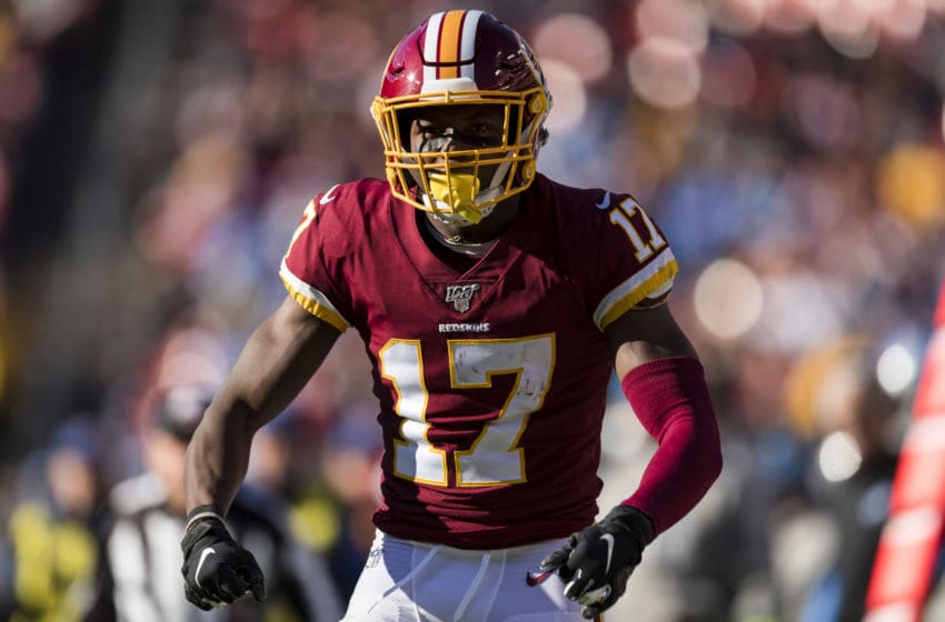 LANDOVER, MD - NOVEMBER 24: Terry McLaurin #17 of the Washington Redskins celebrates after a play during the first half of the game against the Detroit Lions at FedExField on November 24, 2019 in Landover, Maryland. (Photo by Scott Taetsch/Getty Images)