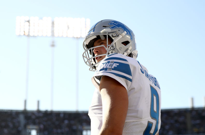 OAKLAND, CALIFORNIA - NOVEMBER 03: Matthew Stafford #9 of the Detroit Lions stands on the sidelines during their game against the Oakland Raiders at RingCentral Coliseum on November 03, 2019 in Oakland, California. (Photo by Ezra Shaw/Getty Images)