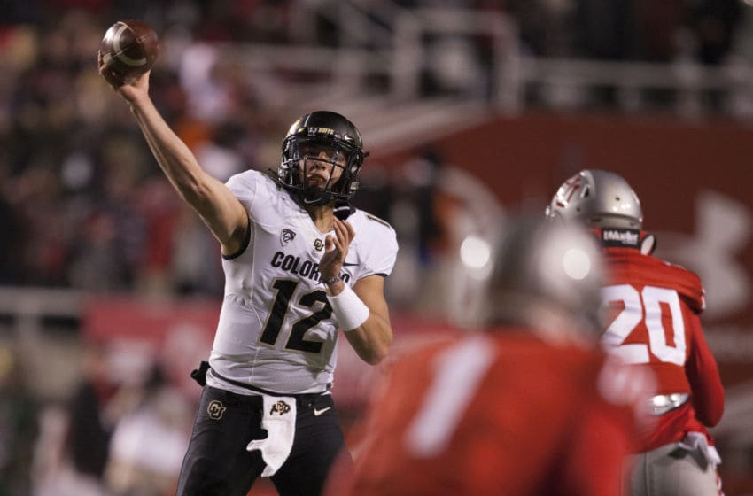 SALT LAKE CITY, UT - NOVEMBER 30: Steven Montez #12 of the Colorado Buffaloes throws a pass against the Utah Utes during the first half at Rice-Eccles Stadium on November 30, 2019 in Salt Lake City, Utah. (Photo by Chris Gardner/Getty Images)