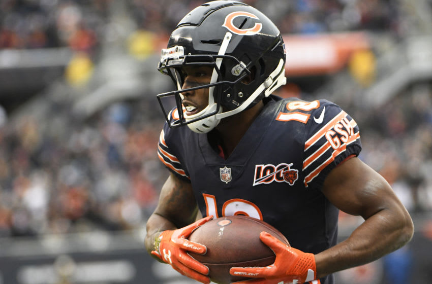 CHICAGO, ILLINOIS - NOVEMBER 10: Taylor Gabriel #18 of the Chicago Bears catches a touchdown against the Detroit Lions during the second half at Soldier Field on November 10, 2019 in Chicago, Illinois. (Photo by David Banks/Getty Images)