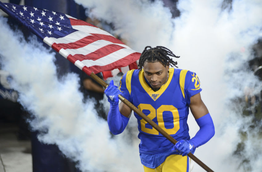 LOS ANGELES, CALIFORNIA - NOVEMBER 17: Cornerback Jalen Ramsey #20 of the Los Angeles Rams runs onto the field for the game against the Chicago Bears at Los Angeles Memorial Coliseum on November 17, 2019 in Los Angeles, California. (Photo by Meg Oliphant/Getty Images)