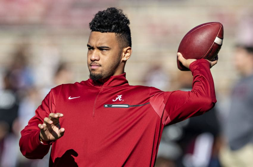 FAYETTEVILLE, AR - NOVEMBER 9: Tua Tagovailoa #13 of the Alabama Crimson Tide warms up before a game against the Mississippi State Bulldogs at Davis Wade Stadium on November 16, 2019 in Starkville, Mississippi. The Crimson Tide defeated the Bulldogs 38-7. (Photo by Wesley Hitt/Getty Images)