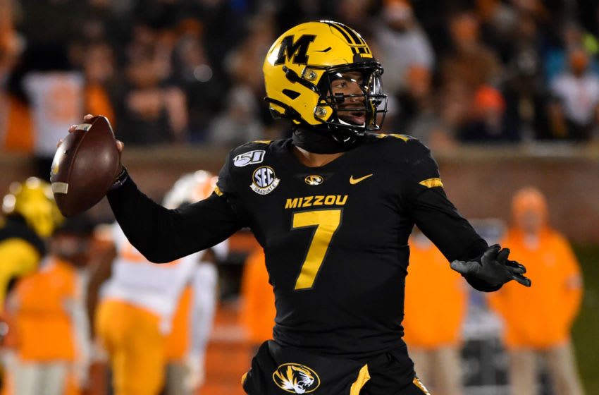 COLUMBIA, MISSOURI - NOVEMBER 23: Quarterback Kelly Bryant #7 of the Missouri Tigers passes against the Tennessee Volunteers in the second quarter at Faurot Field/Memorial Stadium on November 23, 2019 in Columbia, Missouri. (Photo by Ed Zurga/Getty Images)