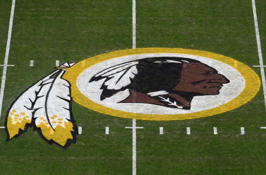 LANDOVER, MD - NOVEMBER 24: A general view of the Washington Redskins logo at center field before a game between the Detroit Lions and Redskins at FedExField on November 24, 2019 in Landover, Maryland. (Photo by Patrick McDermott/Getty Images)