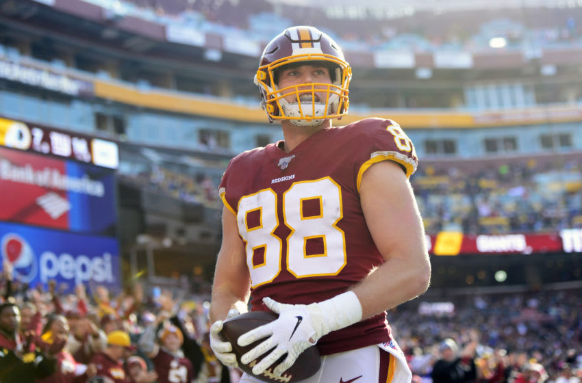 LANDOVER, MD - DECEMBER 22: Hale Hentges #88 of the Washington Redskins celebrates after scoring a touchdown in the first half against the New York Giants at FedExField on December 22, 2019 in Landover, Maryland. (Photo by Patrick McDermott/Getty Images)