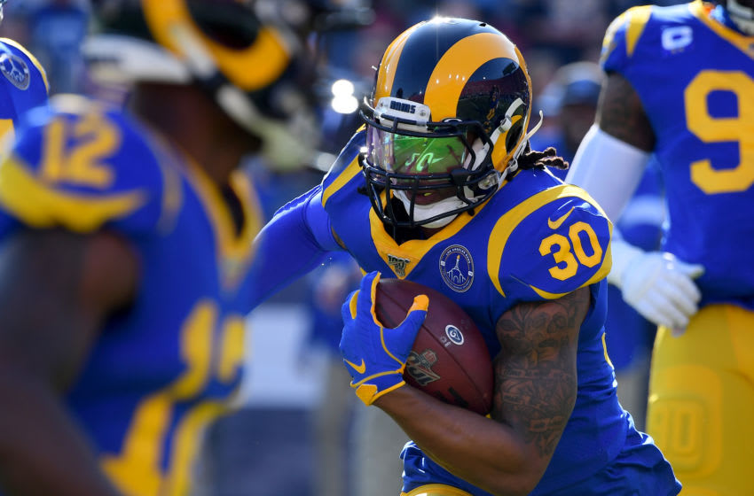 LOS ANGELES, CA - DECEMBER 29: Running back Todd Gurley #30 of the Los Angeles Rams warms up before the game against the Arizona Cardinals at the Los Angeles Memorial Coliseum on December 29, 2019 in Los Angeles, California. (Photo by Jayne Kamin-Oncea/Getty Images)