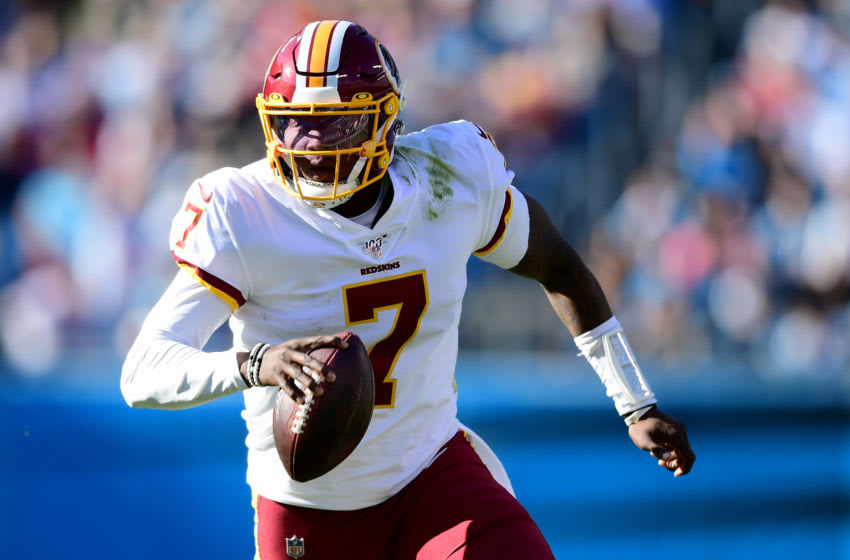 CHARLOTTE, NORTH CAROLINA - DECEMBER 01: Dwayne Haskins #7 of the Washington Redskins runs with the ball during the second quarter during their game against the Carolina Panthers at Bank of America Stadium on December 01, 2019 in Charlotte, North Carolina. (Photo by Jacob Kupferman/Getty Images)