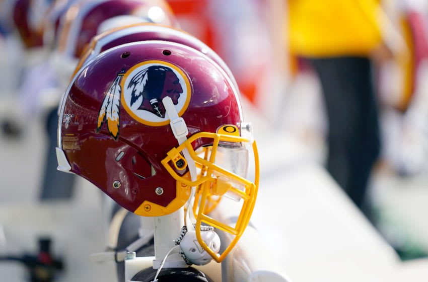 CHARLOTTE, NORTH CAROLINA - DECEMBER 01: A Washington Redskins helmet during the first half during their game against the Carolina Panthers at Bank of America Stadium on December 01, 2019 in Charlotte, North Carolina. (Photo by Jacob Kupferman/Getty Images)