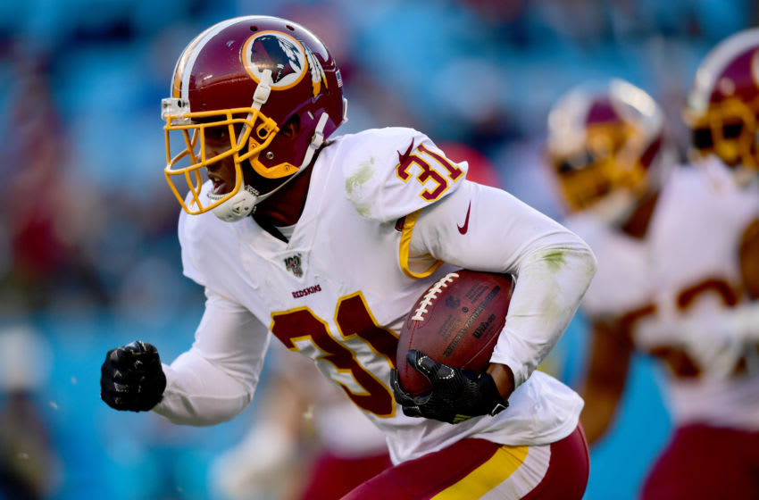CHARLOTTE, NORTH CAROLINA - DECEMBER 01: Fabian Moreau #31 of the Washington Redskins during the second half during their game against the Carolina Panthers at Bank of America Stadium on December 01, 2019 in Charlotte, North Carolina. (Photo by Jacob Kupferman/Getty Images)
