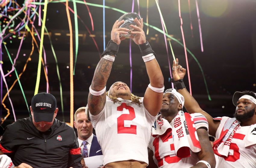 INDIANAPOLIS, INDIANA - DECEMBER 07: Chase Young #02 of the Ohio State Buckeyes celebrates after winning the Big Ten Championship game against the Wisconsin Badgers at Lucas Oil Stadium on December 07, 2019 in Indianapolis, Indiana. (Photo by Justin Casterline/Getty Images)