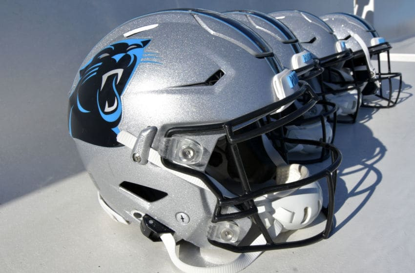 CHARLOTTE, NORTH CAROLINA - DECEMBER 15: Carolina Panthers helmets are seen prior to the game against Seattle Seahawks at Bank of America Stadium on December 15, 2019 in Charlotte, North Carolina. (Photo by Grant Halverson/Getty Images)