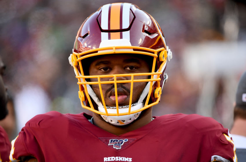 LANDOVER, MD - DECEMBER 15: Geron Christian #74 of the Washington Redskins looks on during the first half against the Philadelphia Eagles at FedExField on December 15, 2019 in Landover, Maryland. (Photo by Will Newton/Getty Images)