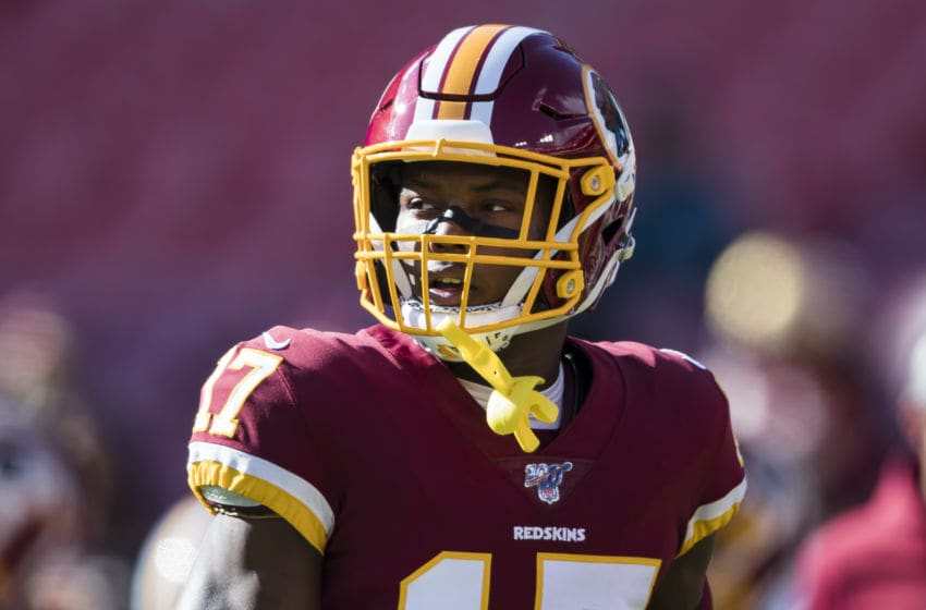 LANDOVER, MD - DECEMBER 15: Terry McLaurin #17 of the Washington Football Team warms up before the game against the Philadelphia Eagles at FedExField on December 15, 2019 in Landover, Maryland. (Photo by Scott Taetsch/Getty Images)